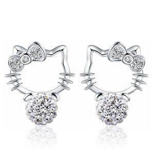 925 Sterling Silver Hello Kitty Crystal Earrings